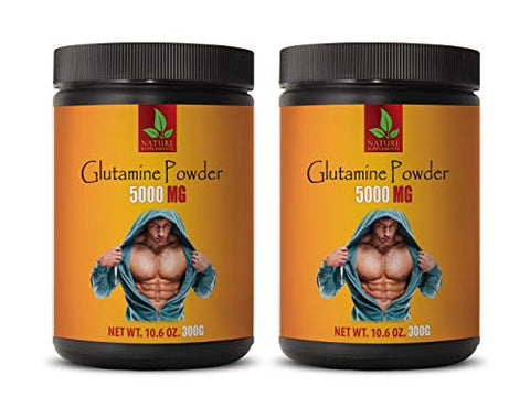 Muscle Mass Powder - GLUTAMINE 5000MG Powder - l-glutamine Gut - 2 Cans 600 Grams