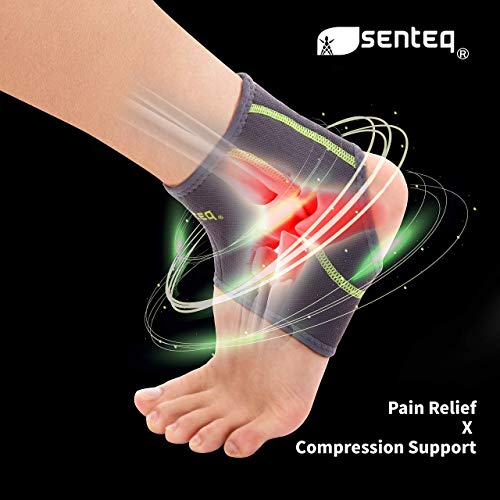 SENTEQ Ankle Brace Asain Slim Fit - Breathable Neoprene Sleeve Provides Support, Compression and Pain Relief. Medical Grade and FDA Approved for Sprains, Strains, Arthritis and Torn Tendons. (Medium)
