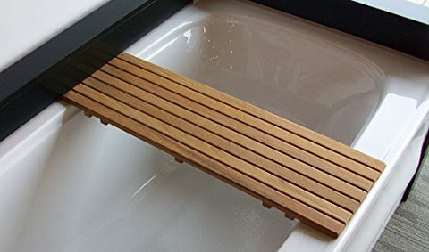 Adjustable Teak Bathtub Shelf Seat | for tubs from 20-1/4