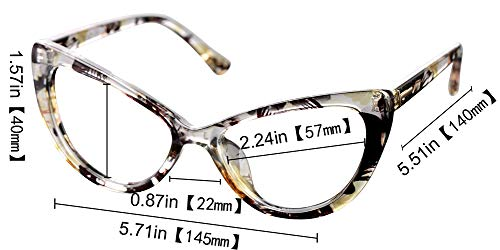 SOOLALA Womens Oversized Fashion Cat Eye Eyeglasses Frame Large Reading Glasses, Yellow, ClearLens