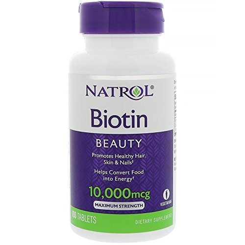 Natrol Biotin Beauty Tablets, Promotes Healthy Hair, Skin and Nails, Helps Support Energy Metabolism, Helps Convert Food Into Energy, Maximum Strength, 10,000mcg, 100 Count (Pack of 1)