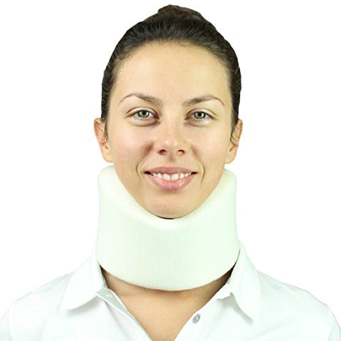Vive Neck Brace - Foam Cervical Collar - Vertebrae Whiplash Wrap Aligns and Stabilizes Spine - Adjustable Spinal Support Can Be Used While Sleeping and Relieves Pain, Pressure (White)