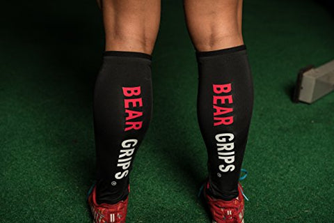 Bear Grips Shin Guards Sleeves. with 5mm of Padded Leg Protection. for Crossfit, Rope Climbing, Box Jump, Weightlifting Deadlift Socks for Deadlifting. Black, Sold in a Pair of Sleeves, Medium