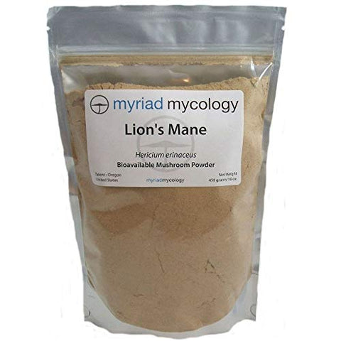Myriad Mycology Lion's Mane Mushroom Powder 16oz or 1lb, Made in USA / Hou Tou Gu, 456g