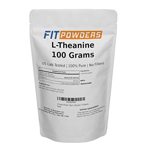 L-Theanine Powder 100g (500 Day Supply) 100% Pure Mood and Cognitive Supplement, Stress Relief and Relaxation - Fit Powders