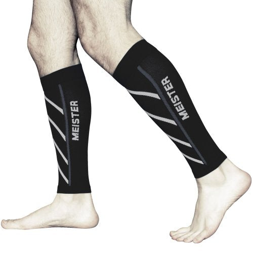 Meister Graduated 20-25mmHg Compression Running Leg Sleeves for Shin Splints (Pair) - Black - Medium