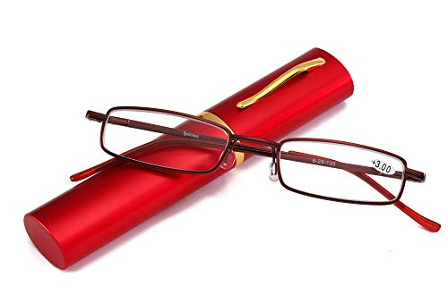 SOOLALA Lightweight Compact Reader Reading Glasses Reader w/Pen Clip Tube Case, PinkRed, 1.0D