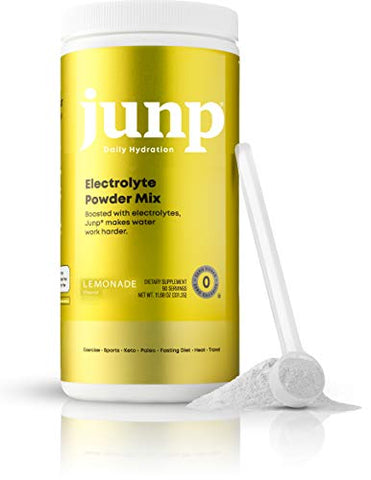 JUNP Hydration Electrolyte Powder, Electrolytes Drink Mix Supplement, Zero Calories Sugar and Carbs, Kosher, Lemonade Flavor, 90 Servings