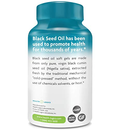 Health Logics Black Seed Oil, Cold Pressed, Rich Source of Omega 6 & 9 Essential Fatty Acids, From Nigella Sativa (100 Softgels)