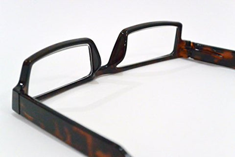 rectangular READING GLASSES contemporary modern TORTOISE SHELL frame with POLARIZED CLIP-ONS power +3.25