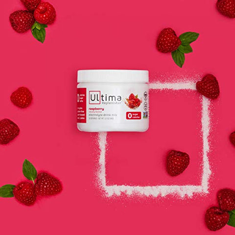 Ultima Replenisher Raspberry Electrolyte Powder, New Formula, 30 Serving Canister (Net Wt.3.4 OZ(96 g)