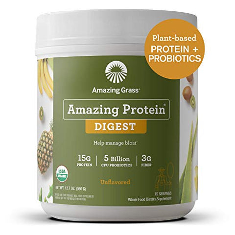 Amazing Grass DIGEST Vegan Protein Powder, Plant Based with Probiotics + Fiber to Manage Bloat, Unflavored, 15 Servings
