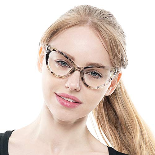 SOOLALA Womens Oversized Fashion Cat Eye Eyeglasses Frame Large Reading Glasses, BlackYellow, ClearLens