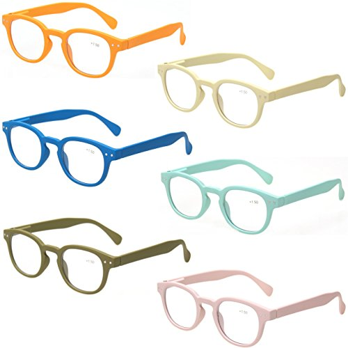 Reading Glasses 6 Pack Great Value Quality Readers Spring Hinge Color Glasses (6 Pairs MIx Color, 1.50)