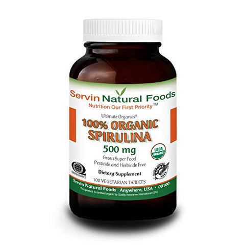100% Organic Spirulina. Increases Energy Level & Improves Immune Response. Great Source of Plant Protein. High in Iron & Calcium. All Natural & Gluten Free. 500mg, 250 Tablets (40 Day Supply)