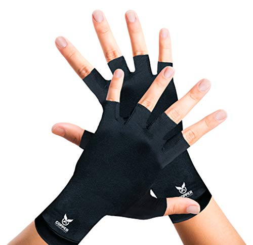 Arthritis Gloves for Women and Men by Copper Compression Hand Gear - Guaranteed to Speed Up Recovery + Relieve Symptoms of Carpal Tunnel Syndrome, Arthritis, RSI, Tendonitis + More. (Pair of Gloves)