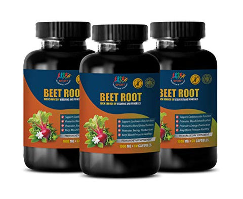 Lower Blood Pressure Naturally Supplements - Beet Root 1000 MG - Premium Dietary Supplement - Beets Nitric Oxide - 3 Bottles 180 Capsules