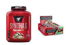 BSN Syntha-6 Whey Protein Powder, Mint Mint Chocolate Chocolate Cake Flavor (44 Servings) with BSN Protein Crisp Bar, Mint Mint Chocolate Chip-Low Sugar Whey Protein Bar, 20g of Protein (12 Count)