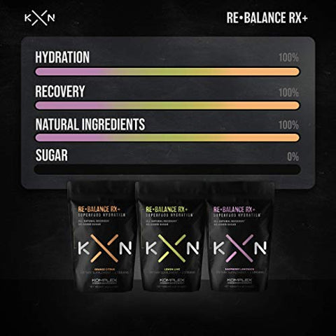 KompleX Nutrition ReBalance Rx+, Natural Detox Drink Mix with Turmeric, Cayenne Powder, and Ginger, 20 Individual Packets for Workouts and Hydration, Zero Sugar (Lemon Lime)