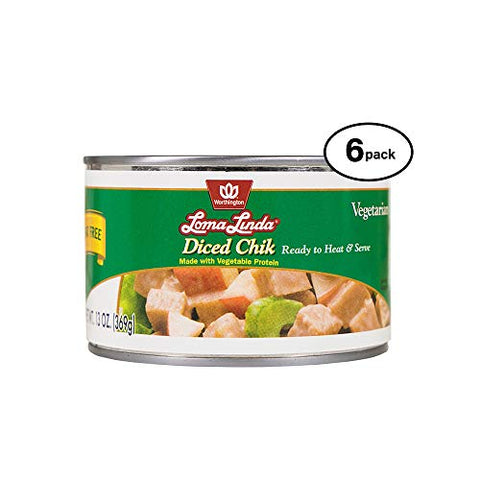 Loma Linda - Plant-Based - Diced Chik (13 oz.) (Pack of 6) - Kosher