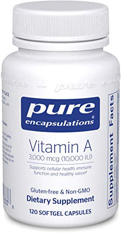 Pure Encapsulations - Vitamin A 10,000 IU - Supports Vision, Growth, Reproductive Function, Immunity, Skin and Mucous Membranes* - 120 Softgel Capsules