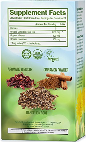 Dandelion Root Tea Detox Tea - Raw Organic Vitamin Rich Digestive - 1 Pack (20 Bags, 2 grams each) - Helps Improve Digestion and Immune System - Anti-inflammatory and Antioxidant
