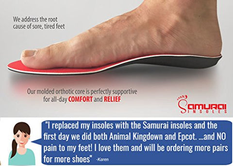 Samurai Insoles Instant Relief Orthotics for Flat Feet - Plantar Fasciitis Pain Relief Guaranteed, Arch Support Shoe Insert Insoles for Foot and Heel Pain M6-6.5/W8-8.5