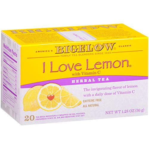 Bigelow I Love Lemon Herbal Tea Bags, 20 Count Box (Pack of 6) Caffeine Free Herbal Tea, 120 Tea Bags Total