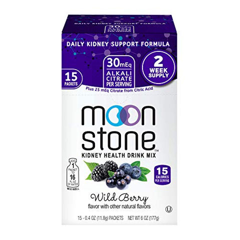 Moonstone Nutrition | Hydration Powder Packets and Supplement for Kidney Support, Function and Protection | 15 Pack, Wild Berry