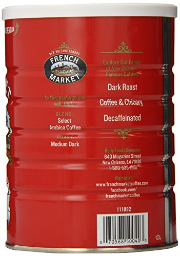 French Market Coffee, French Roast Ground Coffee, 12 Ounce Metal Can