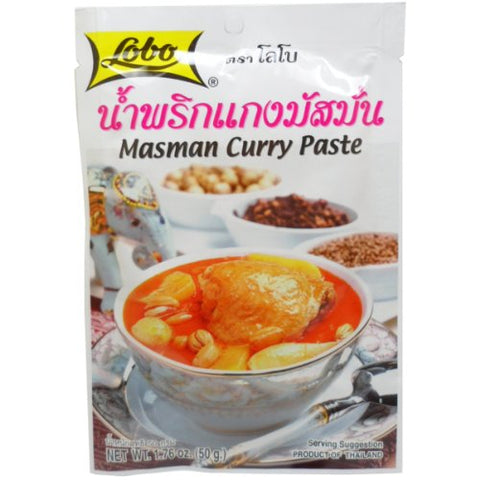 Lobo Masman Curry Paste 50 G (1.76 Oz.) Thai Herbal Food X 2 Bags