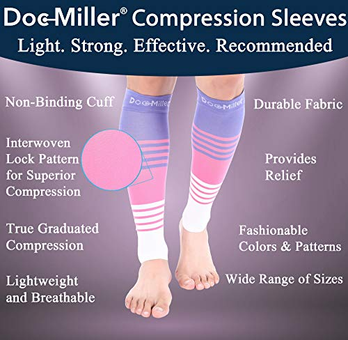 Doc Miller Premium Calf Compression Sleeve Dress Series 1 Pair 20-30mmHg Strong Calf Support Graduated Pressure Sports Running Recovery Shin Splints Varicose Veins (PinkVioletWhite, Medium)