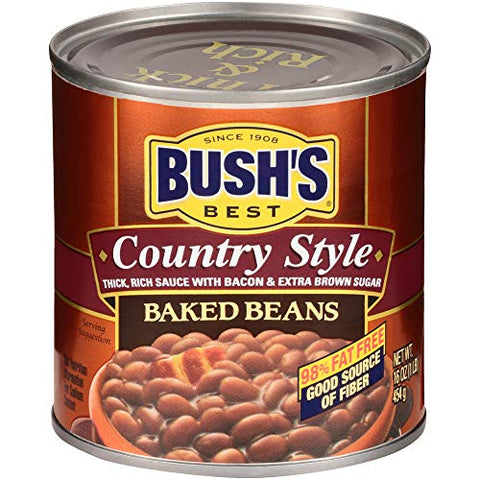 Bush's Best BEST Canned Country Style Baked Beans (Pack of 12), Source of Plant Based Protein and Fiber, Gluten Free, 16 oz, 1 Pound (12 Count) (39400019848)