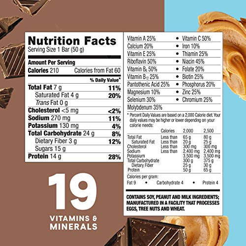 Zone Perfect Protein Bars, Chocolate Peanut Butter, 14g Of Protein, Nutrition Bars With Vitamins & Mi