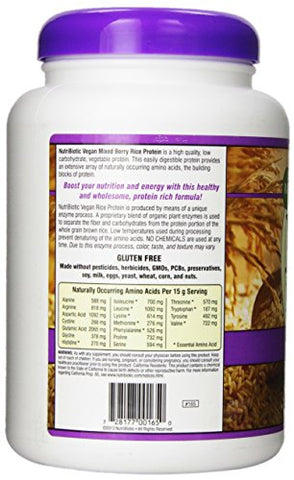 NutriBiotic Rice Protein Mixed Berry| 21 ounces| Low Carbohydrate Vegan Protein Powder| Non-GMO |Gluten Free| Raw| Grown and processed without chemicals |Keto Friendly