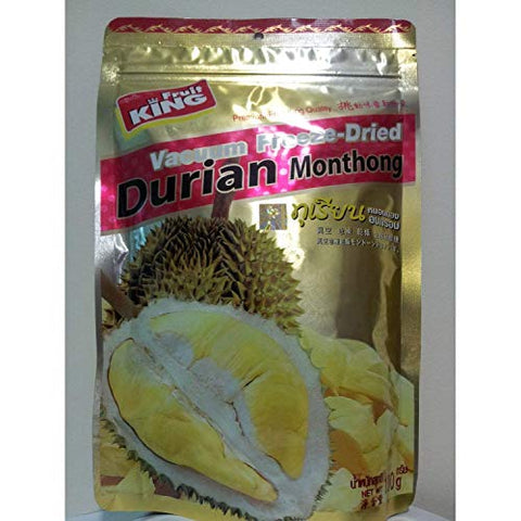 King Fruit Vacuum Freeze Dried Durian Monthong Fruit - 3.5Oz (100g) (5 Bags)