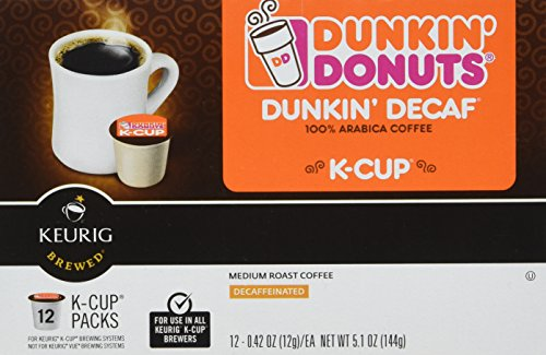 Dunkin Donuts K-cups Decaf - Box of 12 Kcups for Use in Keurig Coffee Brewers 5.1oz