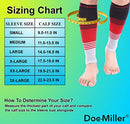 Image of Doc Miller Premium Calf Compression Sleeve Dress Series 1 Pair 20-30mmHg Strong Calf Support Graduated Pressure Sports Running Recovery Shin Splints Varicose Veins (BlackRedGray, X-Large)