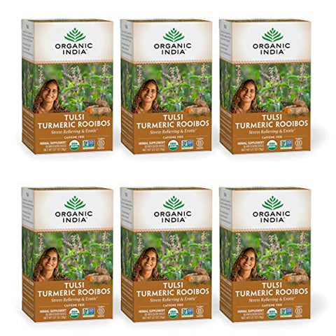 Organic India Tulsi Turmeric Rooibos Herbal Tea - Stress Relieving & Exotic, Immune Support, Healthy Inflammatory Response, Adaptogen, Vegan, Organic, Caffeine-Free - 18 Infusion Bags, 6 Pack