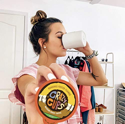 Crazy Cups Flavored Single-Serve Coffee for Keurig K-Cups Machines, Decaf Bananas Foster Flambe, 22 Pods per Box