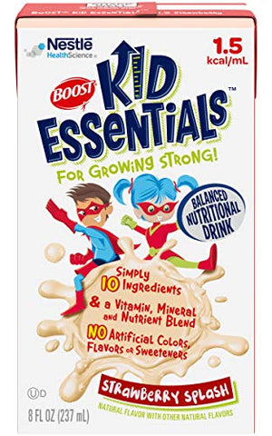 Boost Kid Essentials 1.5 Balanced Nutritional Drink, Strawberry Splash - Vitamin, Mineral and Nutrient Blend - 8 FL OZ (Pack of 3)