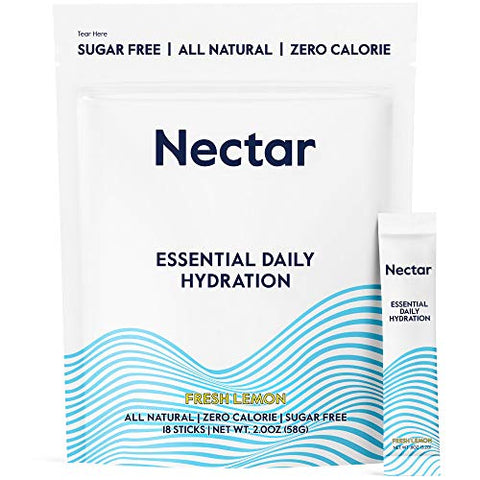 Nectar Hydration Powder Packets - All Natural - No Sugar, Calories or Carbs  IV Water Hydration Packs for Rapid Dehydration Relief with Magnesium, Potassium, Sodium (Fresh Lemon 18pk)