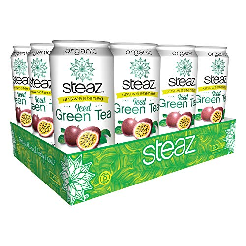 Steaz Organic Unsweetened Iced Green Tea, Passionfruit, 16 FL OZ (Pack of 12)