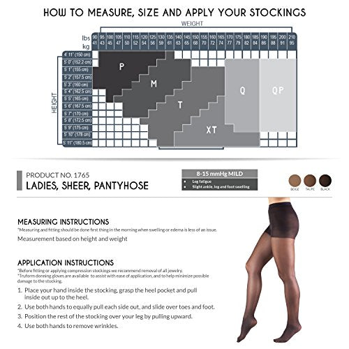 Truform Compression 8-15 mmHg Sheer Pantyhose Black, Queen, 2 Count