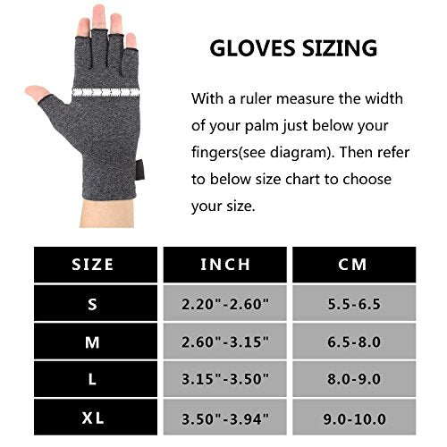 Brace Master 2 Pairs Women Compression Gloves Arthritis Gloves Fingerless Hand Brace Support Warmth