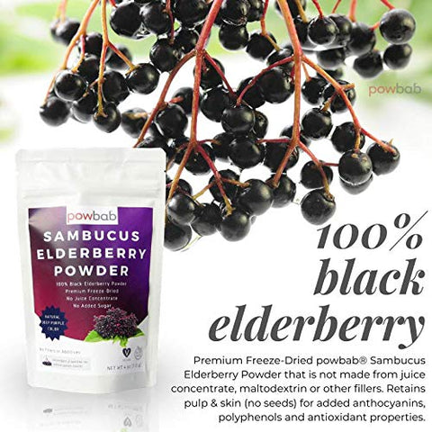 powbab Sambucus Elderberry Powder from 100% Freeze-Dried Organic Elderberries, Chilean (4 oz). No Juice Concentrate, No Sugar Added, No Fillers. immune System Boost - Cold Symptoms, Circulation Health