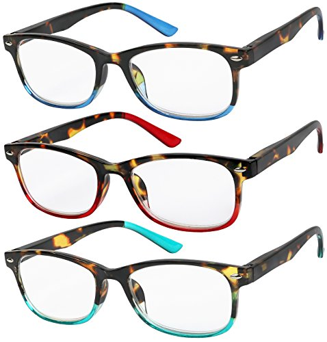 Reading Glasses Set of 3 Great Value Spring Hinge Readers Men and Women Glasses for Reading +3
