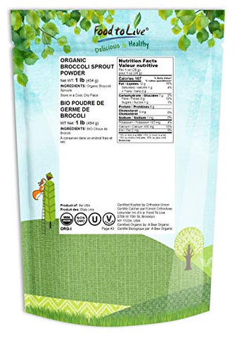 Organic Broccoli Sprouts Powder, 1 Pound  Grown from Non-GMO Seeds, Kosher, Non-Irradiated, Pure, Vegan Superfood, Bulk, Rich in Sulforaphane