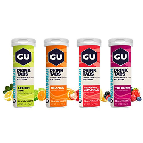 Gu Energy Hydration Electrolyte Drink Tablets, 4 Count, Assorted Flavors