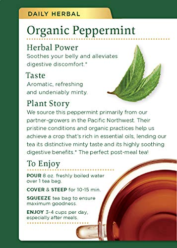 Traditional Medicinals Organic Peppermint Herbal Leaf Tea, Alleviates Digestive Discomfort, 16 Tea B